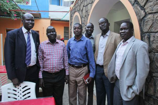 his group of men are former refugees assisted by JRS in the 80s and 90s while they were in exile in Kakuma. Many were resettled or went on to attain higher education in Kenya. They have now returned to their home country to contribute back to society. (Angela Wells / Jesuit Refugee Service)