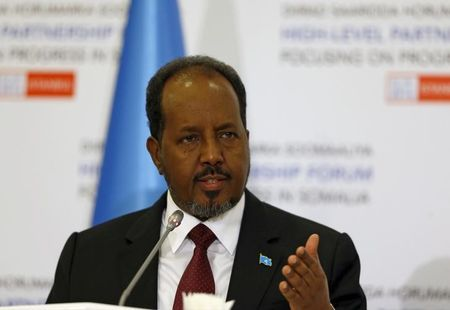 Somalia's President Hassan Sheikh Mohamoud speaks during a news conference after the High Level Partnership Forum in Istanbul, Turkey Somalia's President Hassan Sheikh Mohamoud speaks during a news conference after the High Level Partnership Forum in Istanbul, Turkey, February 23, 2016. REUTERS/Osman Orsal