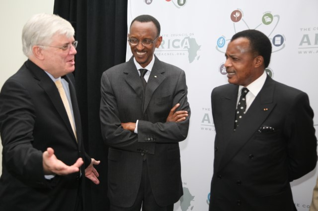 A meeting of presidents: L-R: Stephen Hayes, President and CEO, The Corporate Council on Africa; H.E. Paul Kagame, President of the Republic of Rwanda; H.E. Denis Sassou Nguesso, President of the Republic of Congo at the U.S.-Africa Business Summit in 2009