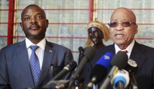 South African President Jacob Zuma (R) addresses a news conference next to Burundi's President Pierre Nkurunziza in Burundi's capital Bujumbura, February 26, 2016, after an Africa Union-sponsored dialogue in an attempt to end months of violence. REUTERS/Evrard Ngendakumana