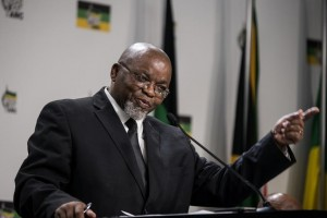 """African National Congress Secretary General Gwede Mantashe answers questions at a press briefing in Johannesburg, June 8, 2014. Mantashe has said the party is suspicious of """"irregular activities"""" at the U.S. embassy in Pretoria. MUJAHID SAFODIEN/AFP/GETTY IMAGES"""