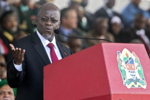 Tanzanian President John Magufuli at his swearing in ceremony in Dar es Salaam, November 5, 2015. The African Development Bank has approved a $1.1 billion loan to assist Tanzania in fighting corruption and improving infrastructure. DANIEL HAYDUK/AFP/GETTY IMAGES