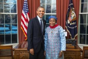 Niger's Ambassador Hassana Alidou with President Barack Obama