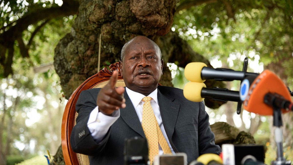 President Yoweri Museveni gestures as he speaks during a press conference at his country house in Rwakitura, about 275 kilometres west of the capital Kampala, on Feb. 21, 2016. Photographer: ISAAC KASAMANI/AFP/Getty Images
