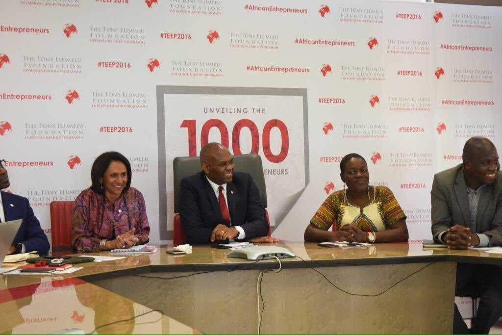 TEF Founder Tony Elumelu flanked by Foundation CEO Parmindar Vir and Selection Committee member Angelle Kwemo