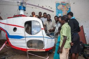 Felix Kambwiri has spent about $350 on the helicopter, including $100 on its converted motorbike engine (AFP Photo/Amos Gumulira)