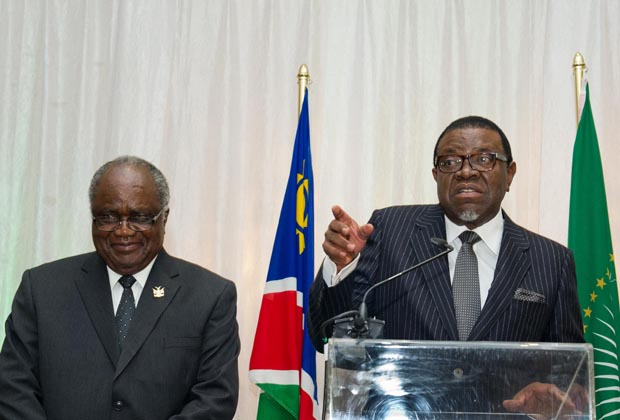 President Hage Geingob (right) has been in power for one year since taking over from his predecessor Hifikepunye Pohamba (left). Credit: DoC.