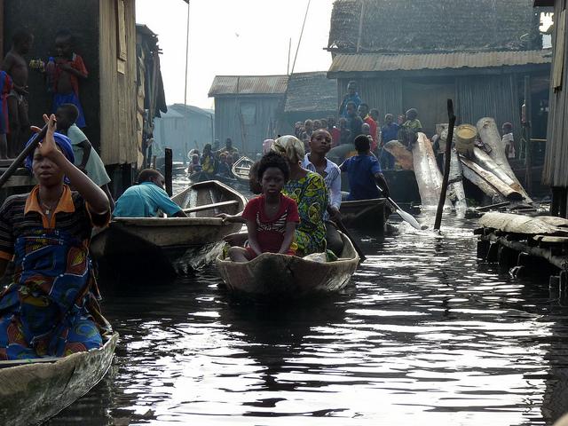 Getting around in Makoko, Lagos. Credit: Rainer Wozny.