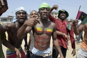 Pro-Biafra protesters demonstrate in Aba, Nigeria, November 18, 2015. President Buhari, who fought in the Nigerian civil war, has said that agitation for an independent Biafra is unacceptable. PIUS UTOMI EKPEI/AFP/GETTY IMAGES