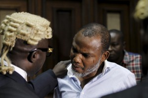 Indigenous People of Biafra leader Nnamdi Kanu is seen with his counsel in Abuja, Nigeria on January 20, 2016. His arrest has triggered protests across Nigeria by pro-Biafran activists. AFOLABI SOTUNDE/REUTERS