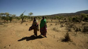 Women travel the arid landscape of Ethiopia. The U.S. Agency for International Development has deployed a disaster assistance response team — or DART — to the country, where El Nino-induced weather extremes are wreaking havoc on livelihoods, food and water systems. Photo by: Morgana Wingard / USAID / CC BY-NC
