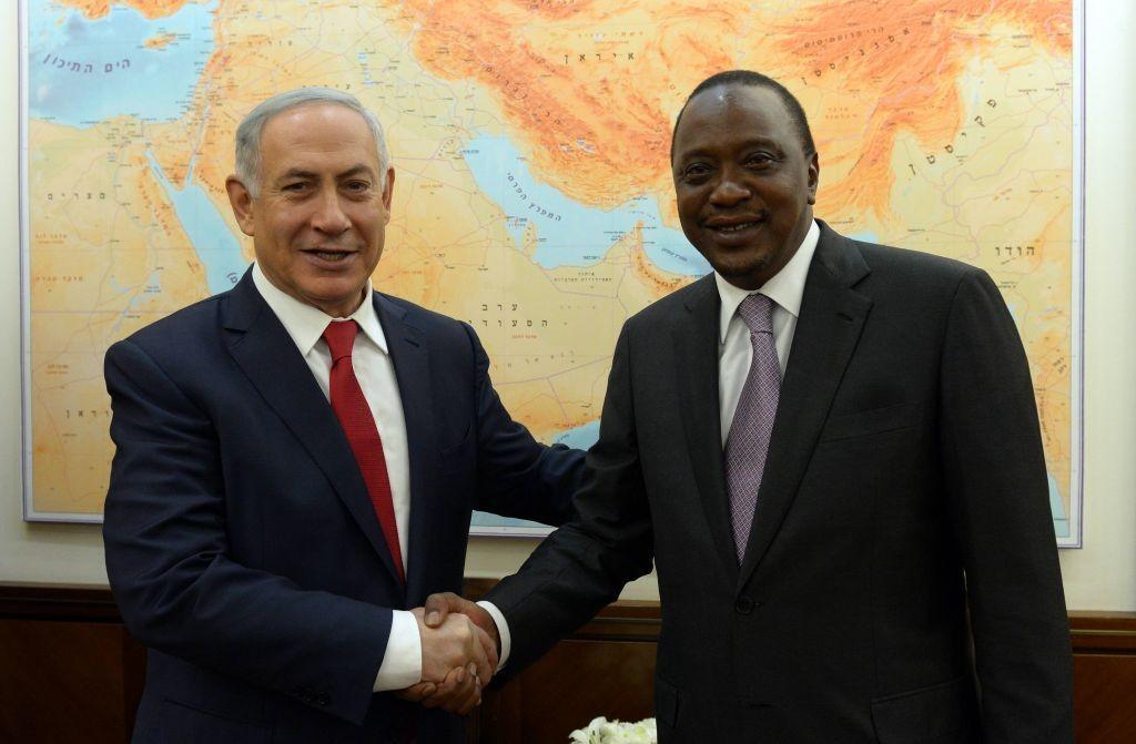 Prime Minister Benjamin Netanyahu meets with Kenyan President Uhuru Kenyatta at his Jerusalem office during a recent visit .