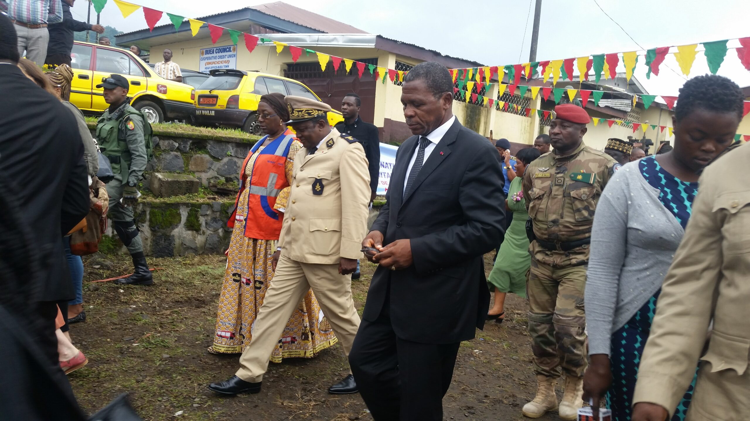 Minister Paul Atanga Nji during his visit to the Coordination center for humanitarian assistance in Buea