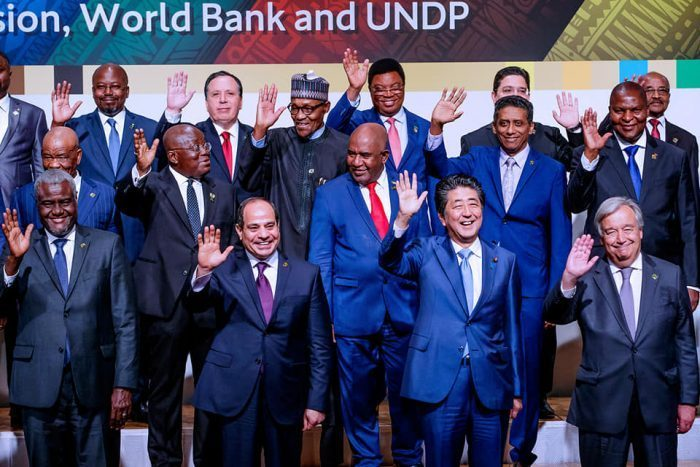 Japanese Prime Minister Shinzo Abe African leaders at opening of TICAD7