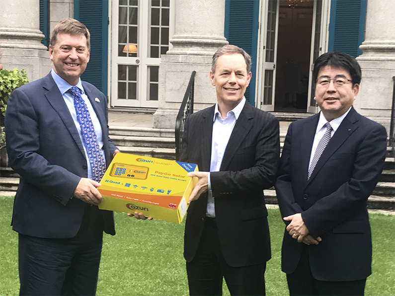 At the British Embassy following the last day of TICAD7, the UK's AmbassadorPaul Madden, is joined by Azuri CEO Simon Bransfield-Garth, and Yoshiaki Yokota, Chief Operating Officer, Power Business Division at Marubeni Corporation to discuss next-generation energy in Africa.