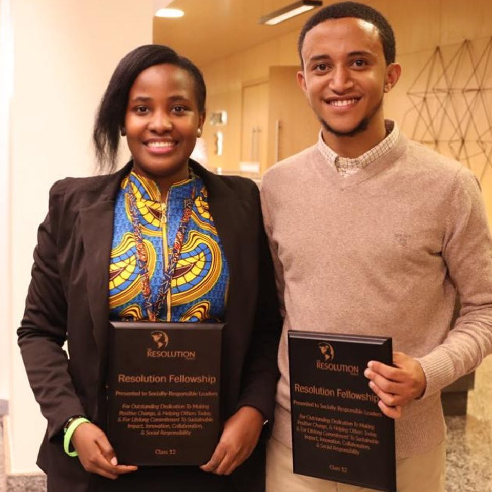 Edith Naisubi and her fellow Amanuel Eshete scoop an award at the 2019 Mastercard Foundation Social Venture Challenge