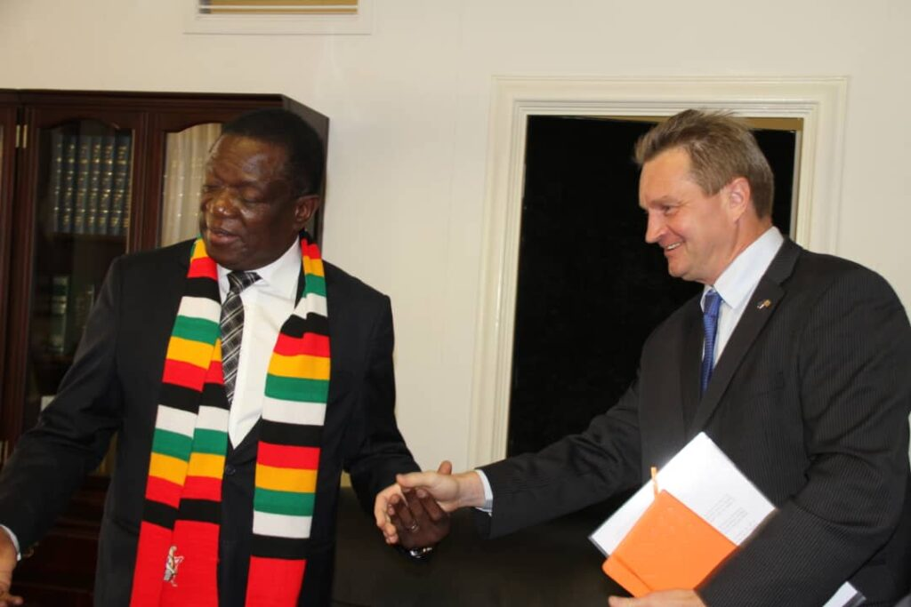 President Mnangagwa with European Union Ambassador to Zimbabwe Mr Timo Olkkonen