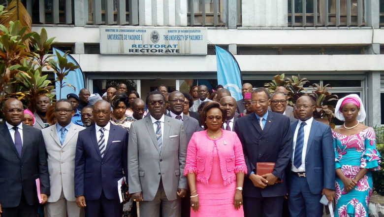Officials of CAMTEL and the University of Yaounde 1 after the signing of the MoU to open an Artificial Intelliegence Centre
