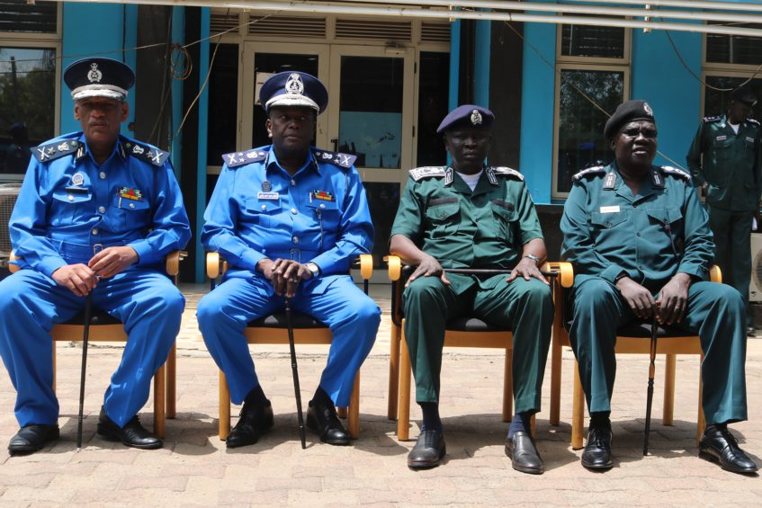 [Left - Right] Sudan's Deputy Ambassador to Juba, Isam Idris Ibrahim, Sudan's Director-General of the Police Force, Gen. Adil Mohammed Ahmed Bashir, Inspector General of South Sudan Police, Gen. Majak Akech in Juba on Friday August 2, 2019. PHOTO: South Sudan National Police Service/facebook.com/police2456/