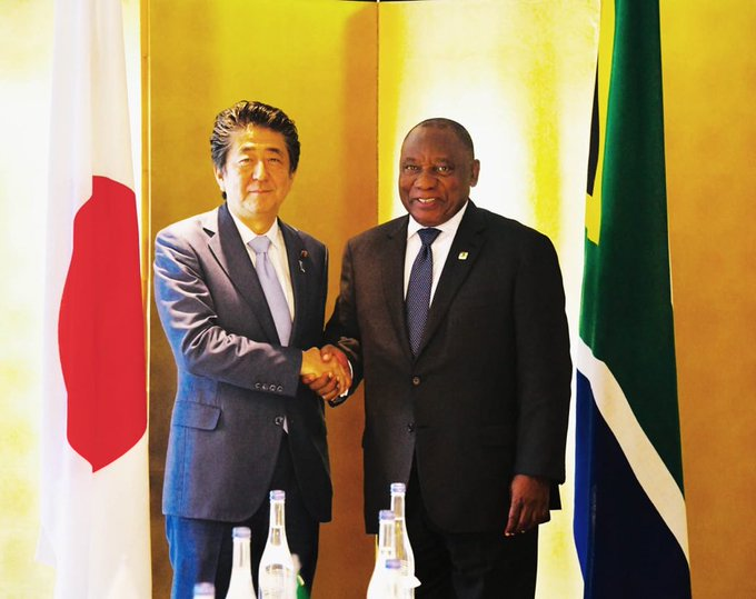 South Africa President Cyril Ramaphosa and Prime Minister of Japan, HE Shinzō Abe during the Tokyo International Conference on African Development (TICAD) in Yokohama Japan-[Photo by South Africa Presidency].