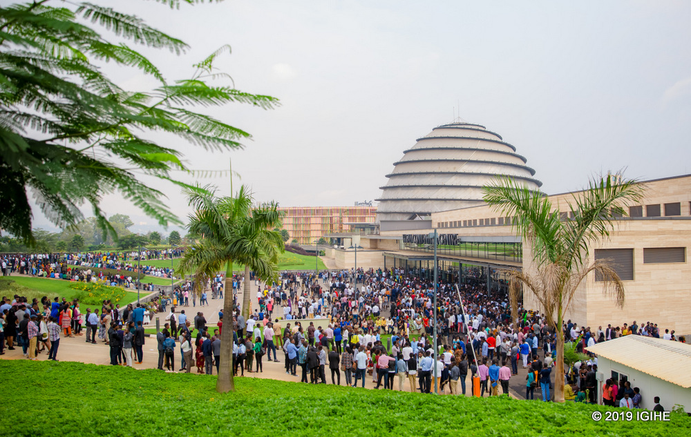 Thousands of people were gathered outside Kigali Convention Centre attending Kinuthia's meeting