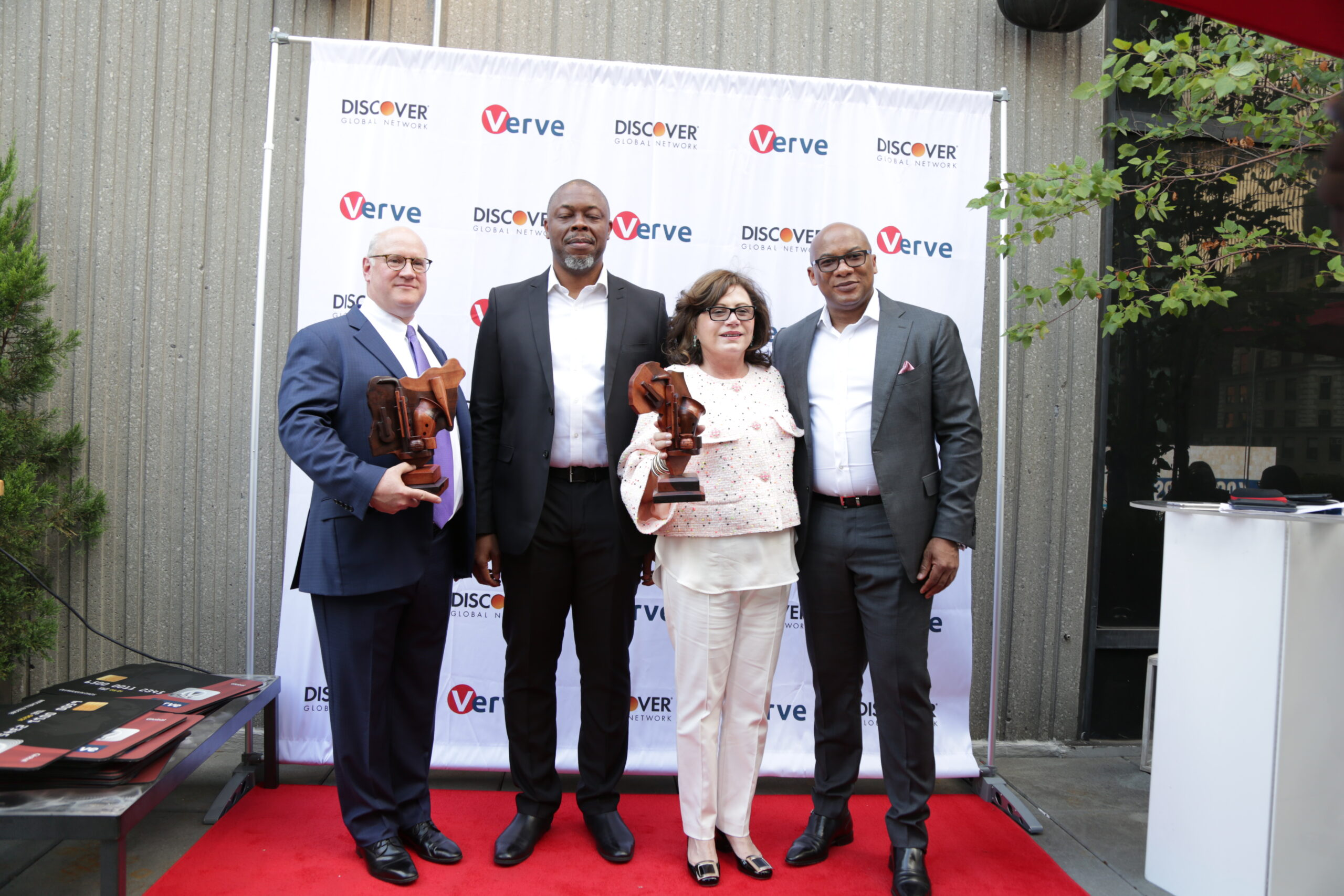 L-R: Joseph Hurley, Snr. Vice President, Payment Services, Discover Financial Services, Mike Ogbalu 111, Divisional CEO, Verve, Diane Offereins, Executive Vice President, Payment Services, Discover, and Mitchell Elegbe, Founder/GMD Interswitch Group, at the Verve Global Card Launch in New York, on Monday.