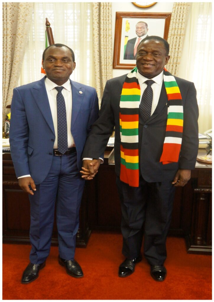 The President of the African Court on Human and Peoples' Rights Hon Justice Sylvain Oré in a with Zimbabwe President Emmerson Mnangagwa (r) at the State House Harare after holding very fruitful discussions, including an assurance that Harare will ratify the protocol establishing the Pan African Judicial organ.