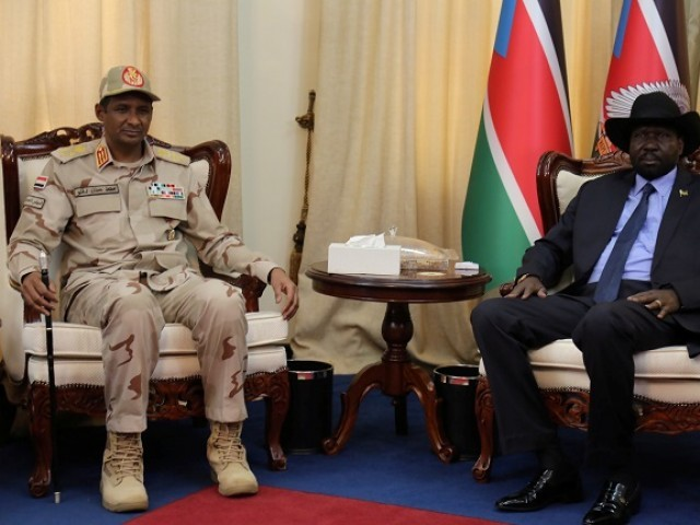 Deputy Head of Sudanese Transitional Military Council, Mohamed Hamdan Dagalo meets South Sudanese President Salva Kiir in Juba, South Sudan. PHOTO: REUTERS