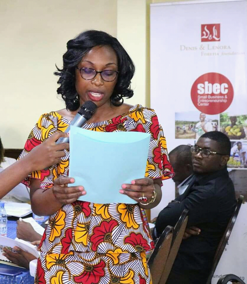 Director of Programs Agathe Djomeghu- The SBECtraining is the first of a series of six training to be held in Yaounde and Douala