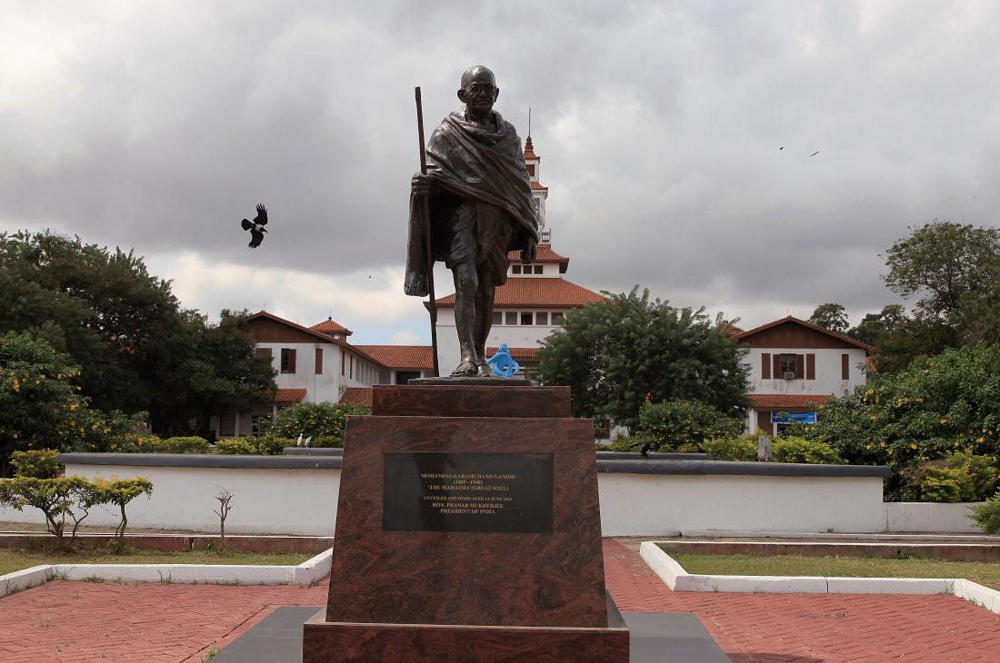 A statue of Gandhi in Accra, Ghana was eventually taken down