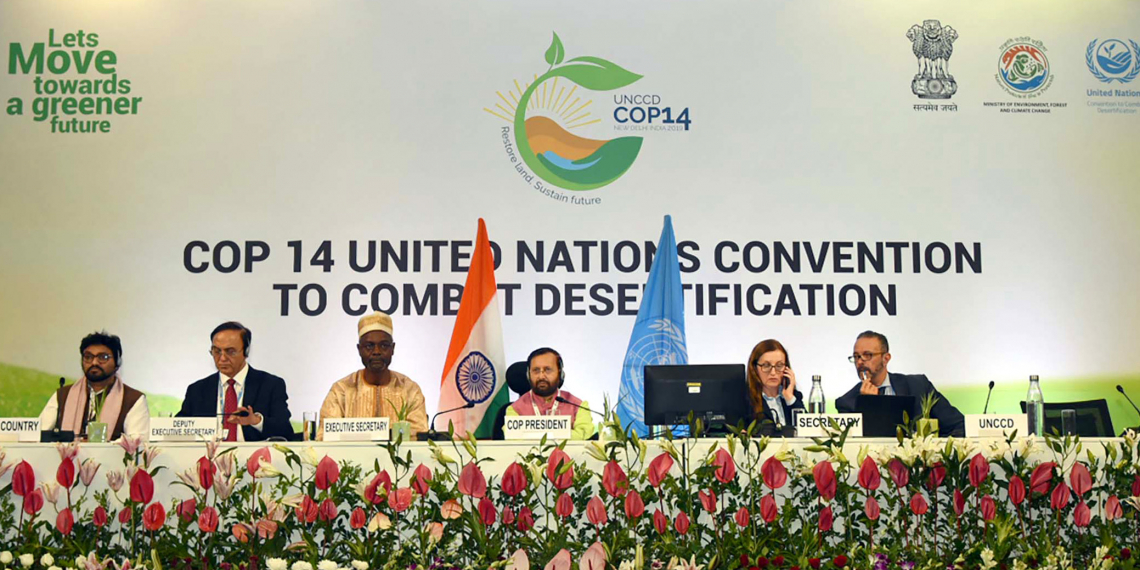 The Union Minister for Environment, Forest & Climate Change and Information & Broadcasting, Shri Prakash Javadekar and the Executive Secretary, UNCCD, Mr. Ibrahim Thiaw at the 14th Conference of Parties COP 14 United Nations Convention to Combat Desertification, at India Expo Centre & Mart, Greater Noida on September 02, 2019. The Minister of State for Environment, Forest and Climate Change, Shri Babul Supriyo and other dignitaries are also seen.