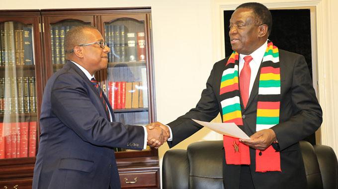 President Mnangagwa with US Ambassador Brian Nichols