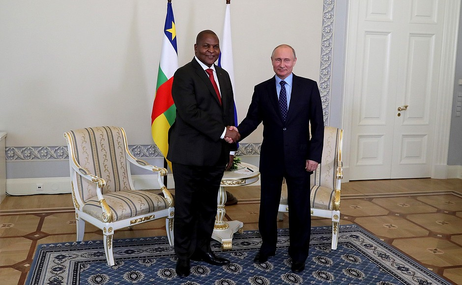 Russian President Putin with President of Central African Republic Faustin Archange Touadera.