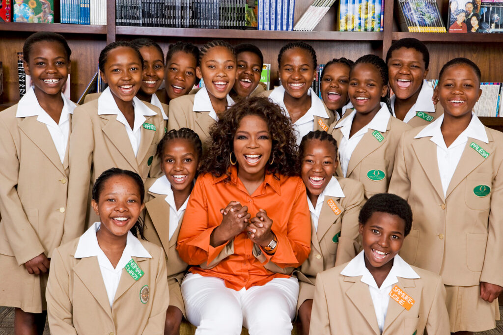 Oprah Winfrey and students from the Oprah Winfrey Leadership Academy for Girls. 2011. Picture credit People Magazine