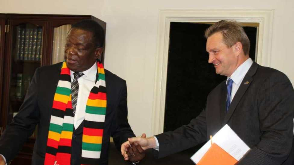 President Emmerson Mnangagwa with EU Ambassador Head of Delegation to Zimbabwe Tim Olkonnen