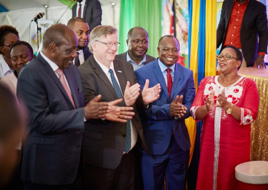 Cabinet Secretary Hon Sicily Kariuki, right, joins other dignitaries to celebrate malaria vaccine roll-out