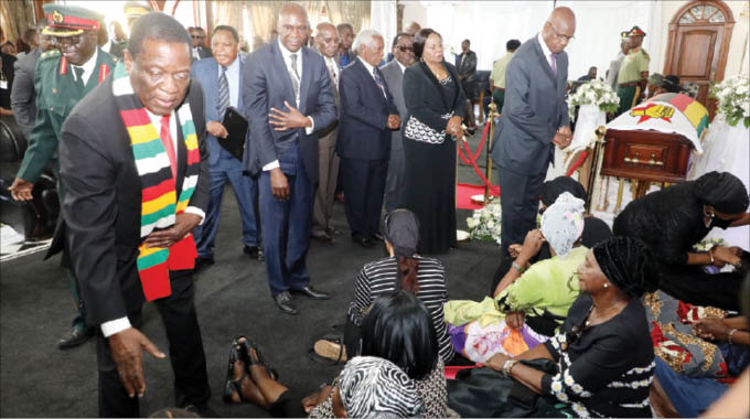 President Mnangagwa consoles mourners at a funeral wake for the former President and National Hero Robert Mugabe, in Borrowdale, Harare, (Picture by Justin Mutenda,Chronice)