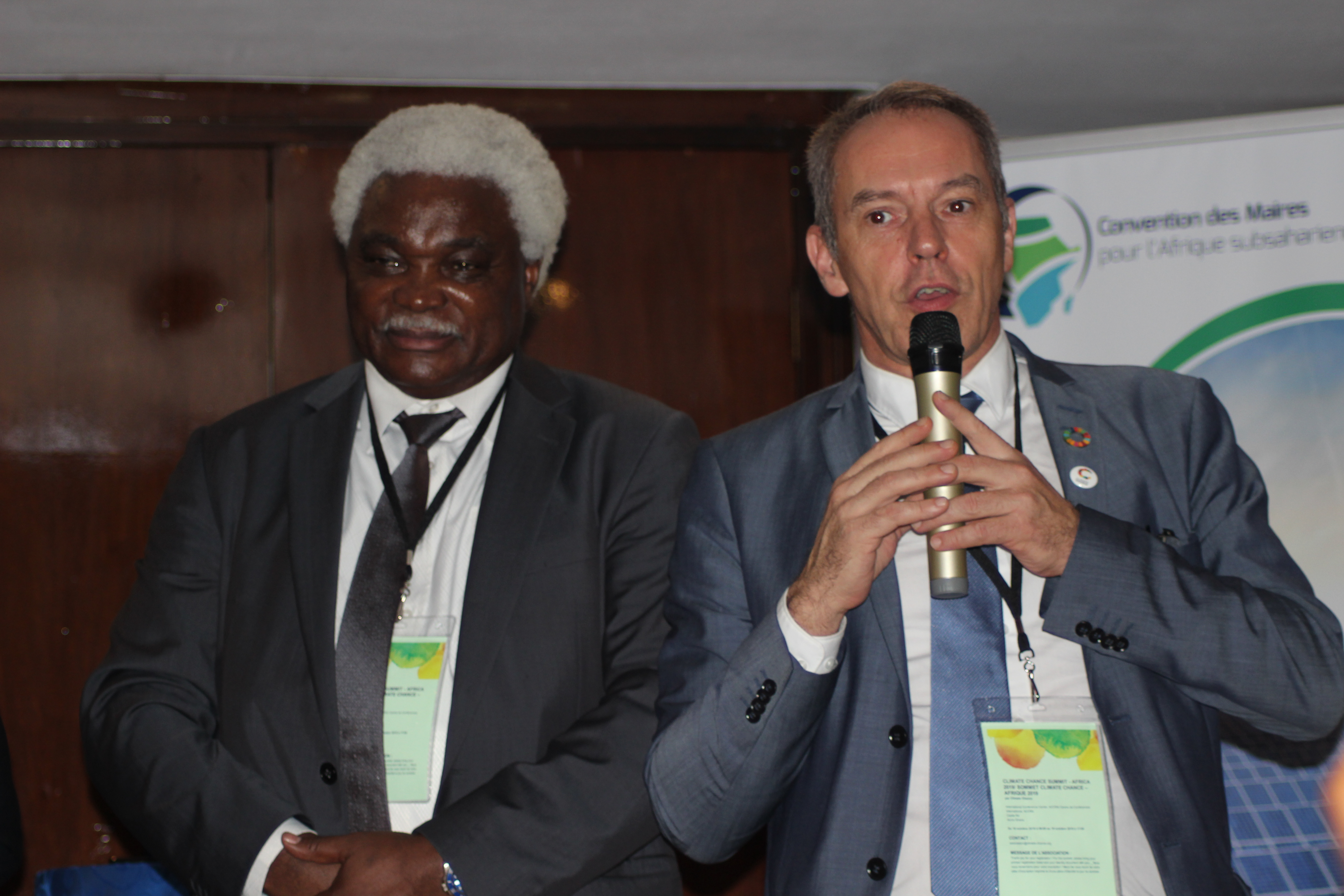 Jean Pierre Elong Mbassi, Secretary General of the United Cities and Local Governments of Africa- UCLG and Frédéric Vallier Secretary General at Council of European Municipalities and Regions-CEMR