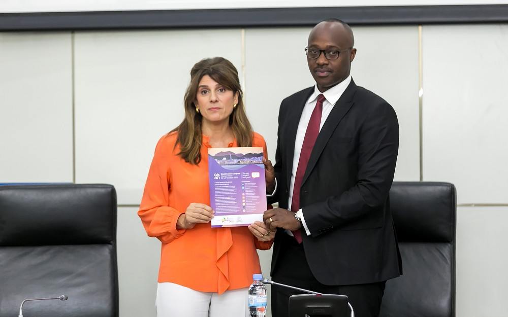 Her Royal Highness Princess of Jordan and UICC President Dina Mired hands a cancer control document to Kigali City Mayor Pudence Rubingisa, yesterday. Photo courtesy.