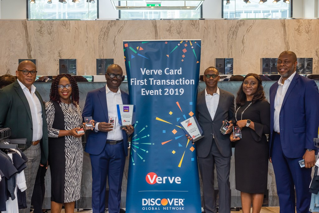 L-R: Mitchell Elegbe, GMD / Founder, Interswitch Group; Nneka Onwuegbuche, Product Manager, Card Services, Zenith Bank Plc; Shamsudeen Fashola, Group Head Retail Banking, FCMB; Lanre Oladimeji, Group Head Retail Banking, Zenith Bank Plc; Margaret Okhoya, Product Manager Card Services, FCMB and Mike Ogbalu III, CEO, Verve International during the Verve Global Card launch and First Transaction at Emperor Retail Outlet in Dubai, UAE recently