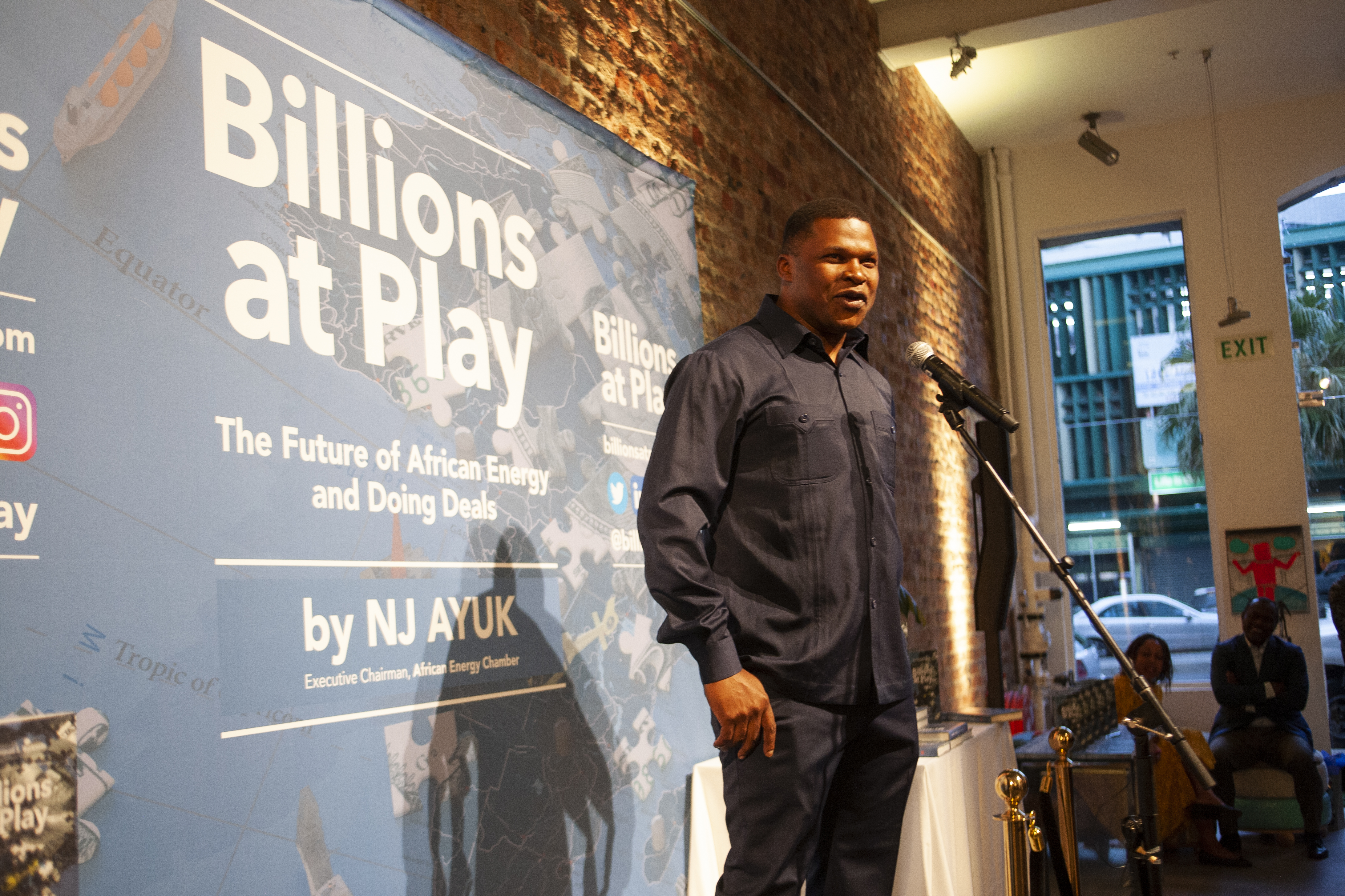 NJ Ayuk speaking at the launch of Billions At Play in South Africa