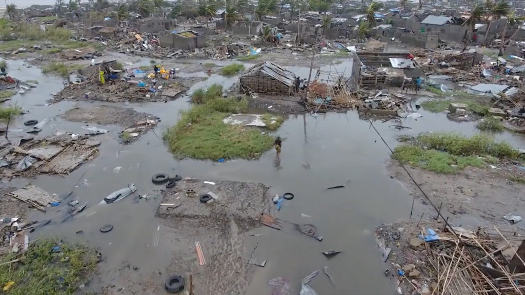 A general view of the damage after a cyclone swept through Beira, Mozambique in this aerial drone video taken March 18, 2019. IFRC/Red Cross Climate Centre via REUTERS