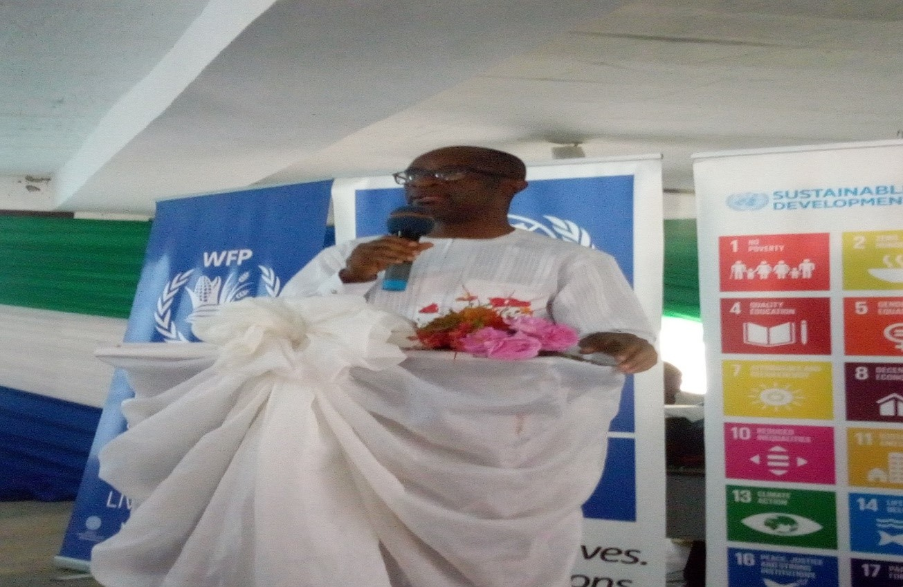 United Nations Resident Representative in Sierra Leone, Dr. Samuel Does speaking at the Social Good Summit Award 2019.