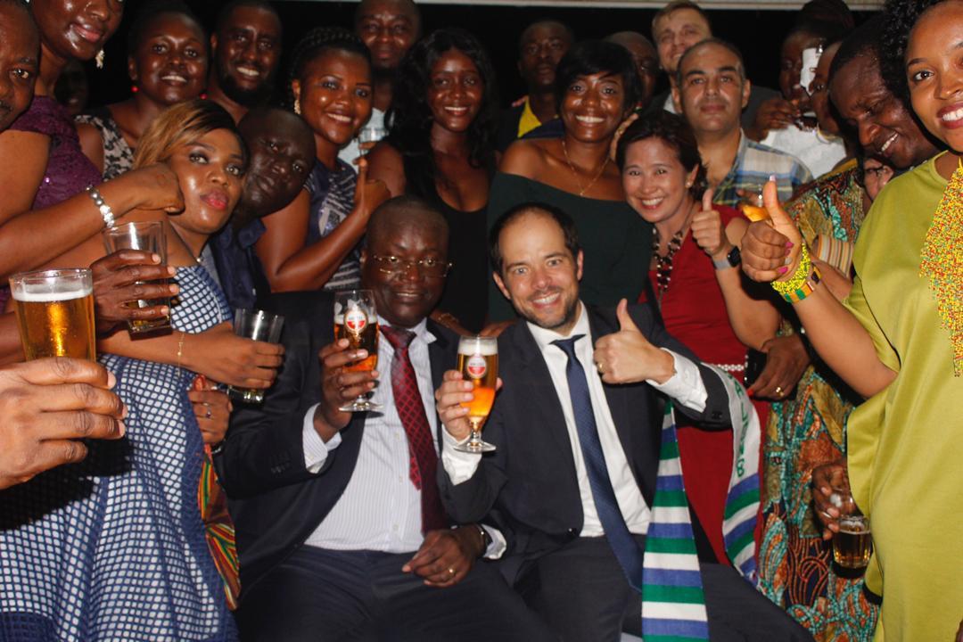 Laurent Bukasa, M D Designate, Daaf Van Tilburg with SLBL staff and guests at the event