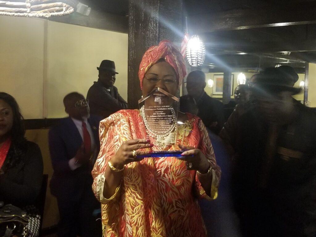 Ambassador Arikana dedicated the award to Pan-African legends (photo: Amos Fofung for Pan African Visions)