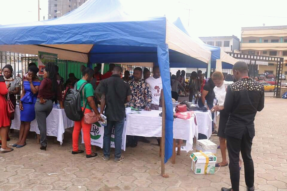 Entrepreneurs showcase products at the small business products