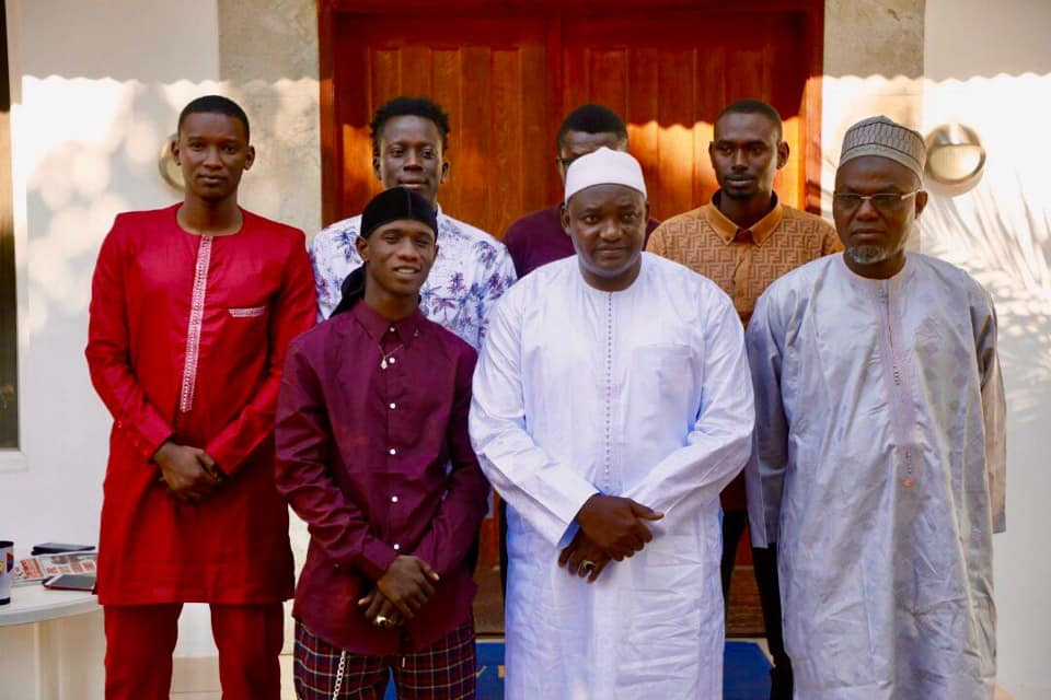 Jizzle and his team with President Barrow