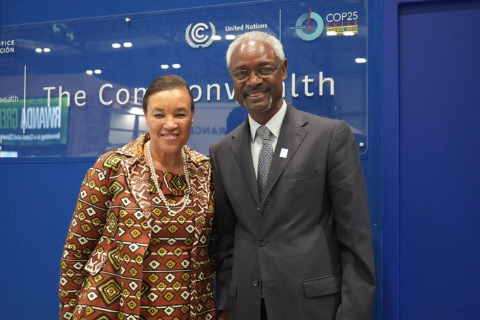 Meeting with Secretary-General and Executive Secretary of the UN Convention to Combat Desertification (UNCCD) Ibrahim Thiaw  on the sidelines of Cop25  The Commonwealth  is taking the threat of  desertification head on with Namibia as the standard bearer .Photo credit twitter