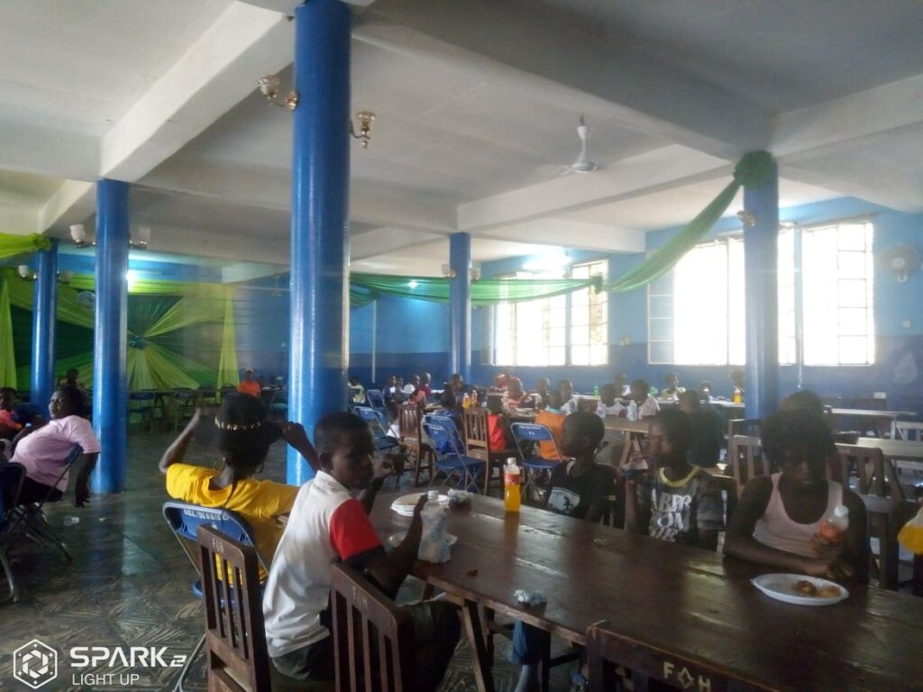 School kids from various schools enjoying their launch at the Wilberforce Lodge at Tower Hill , Freetown