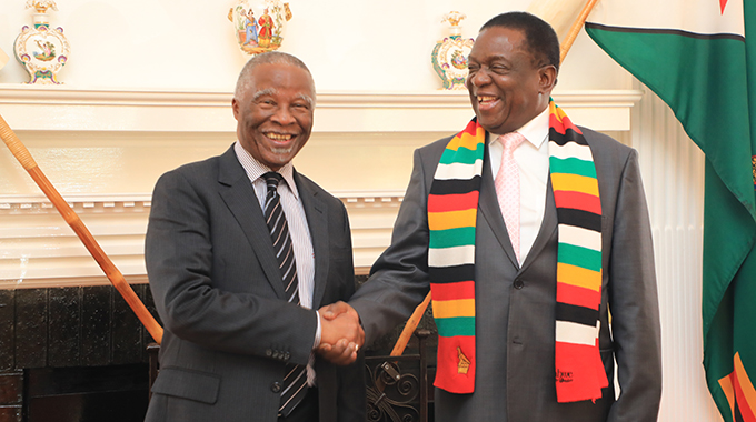 President Mnangagwa welcomes former South African President Thabo Mbeki at State House in Harare .-Picture credit : Tawanda Mudimu